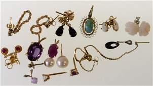 Lot Of 14K Gold Earrings & Pendants 14.7grams