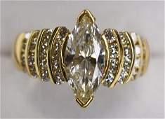 Ladies 18K Yellow Gold 15ct Marquise Diamond Ring