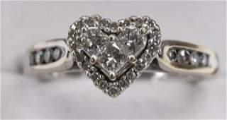 Ladies 14K White Gold Diamond Heart Ring