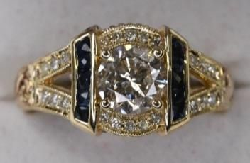 14k Gold 1.00 Ct Center Diamond & Sapphire Ring
