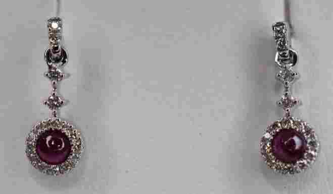 Ladies 14k White Gold Ruby & Diamond Earrings