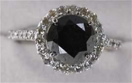 18k Gold 254 Ct Black Diamond  Diamond Ring