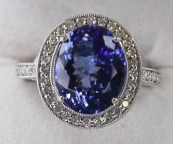 Platinum 4.13 Ct Oval Tanzanite & Diamond Ring