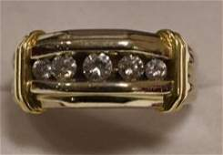 Mens 14K Gold Channel Set Diamond Ring
