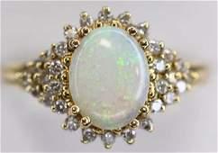 Ladies 14K Yellow Gold Opal & Diamond Ring