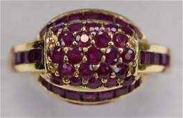 Ladies 14K Yellow Gold Ruby Cocktail Ring