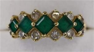 Ladies 14K Yellow Gold Emerald  Diamond Ring