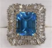Ladies 14K Yellow Gold Diamond  Blue Topaz Ring