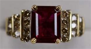 Ladies 14K Yellow Gold Ruby  Diamond Ring