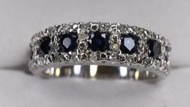 Ladies 10K White Gold Blue Sapphire & Diamond Band