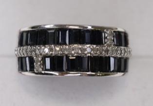 Ladies 10k White Gold Blue Sapphire & Diamond Ring