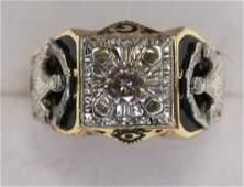 Vintage 14K Yellow Gold Diamond Masons Ring