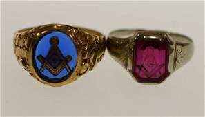 (2) Vintage 10K Yellow Gold Masonic Rings