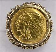 Mens 14K Gold US 5 Gold Indian Coin Ring
