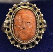 Ladies 14K Gold Carved Coral Greek Face Ring