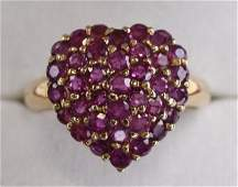 Ladies 14K Yellow Gold Ruby Heart Ring