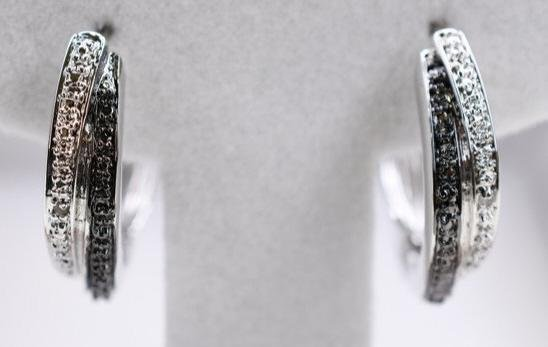 .50CT GENUINE BLACK & WHITE DIAMOND HOOP EARRINGS