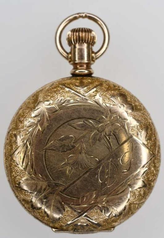 1895 Elgin 14K Gold Open Face Pocket Watch