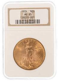1924 $20 Saint Gaudens Gold Coin NGC MS 65