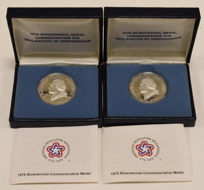 2-1976 Silver Bicentennial Jefferson Proof Medals