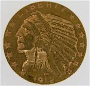 1912-S U.S. $5 Gold Indian Head Coin VF/XF