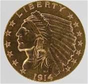 1914-D U.S. $2-1/2 Gold Indian Head Coin AU/BU