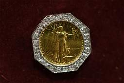 Mens Diamond  Gold Eagle Cuff Link  Studs Set