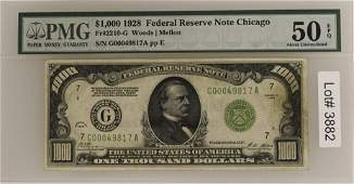 1928 $1000 Federal Reserve Note PMG 50 About Unc