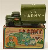 Japan Tin Litho Friction US Army Truck