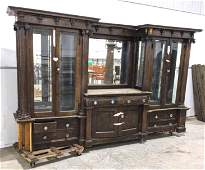 Antique Back Bar with Glass Display Cases