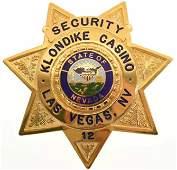 Obsolete Las Vegas Klondike Casino Security Badge