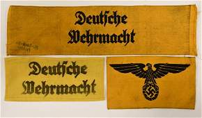 (3) WWII German Military Armbands
