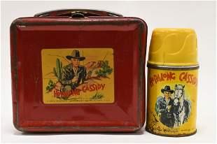 1950 Aladdin Hopalong Cassidy Red Metal Lunch Box