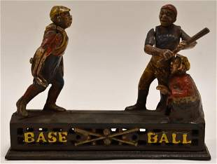 Cast Iron Mechanical Baseball Coin Bank