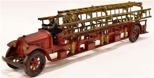 Early Cast Iron Kenton Fire Ladder Truck