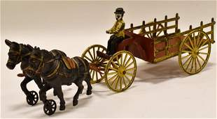 Early Cast Iron Wilkins Donkey Team with Cart