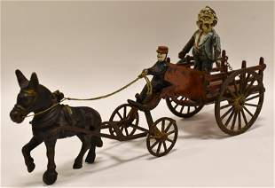 Early Cast Iron Wilkins Donkey with Cart