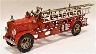Early Cast Iron Hubley Fire Ladder Truck