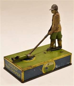 Strauss Tin Litho Mechanical Jocko The Golfer