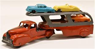Marx Car Carrier Truck and Trailer w/ Cars