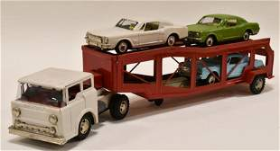 Marx Tin Friction Car Carrier w/ (3) Mustang Cars