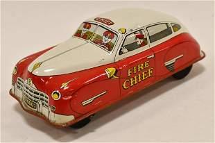 Courtland Tin Litho Windup Fire Chief