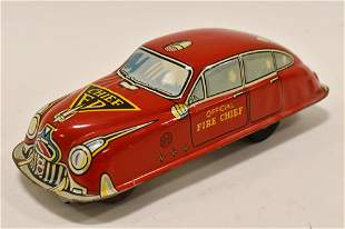 Marx Tin Litho Friction Official Fire Chief Car