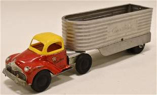 Courtland Tin Litho Windup Truck with Trailer