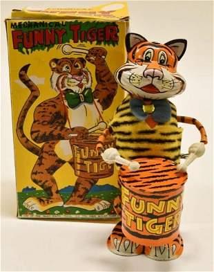 Marx Tin Windup Drumming Funny Tiger