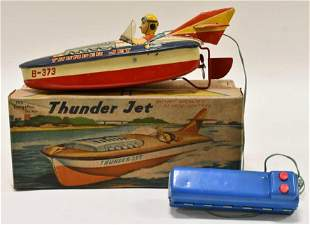 Cragstan Battery Op. Tin Litho Thunder Jet Boat