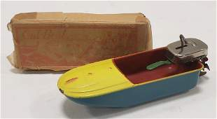 Japan Tin Windup Out-Boat w/ Outboard Motor
