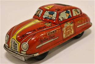 Marx Tin Friction Fire Dept Chief Car