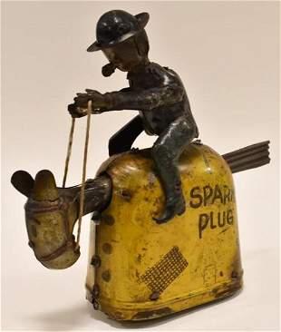 German Nifty Tin Windup Barney Google & Spark Plug