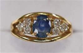 14K Yellow Gold London Blue Topaz  Diamond Ring